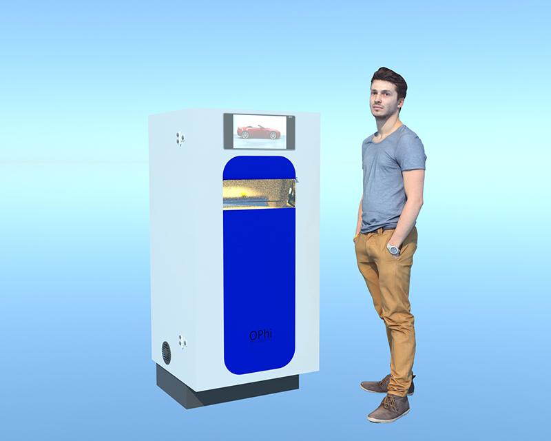 Mies seisoo dispenser jakelulaitteen vieressä